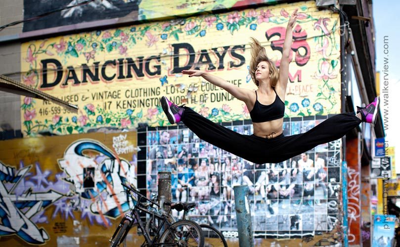 Dancer leaping in the market Toronto Canada dance photography by David Walker