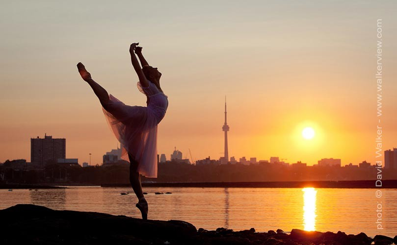 Professional dancer Tonya Milne dancing at sunrise in Toronto photograph by David Walker