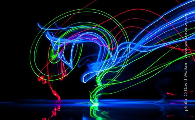 Dancer wearing LED lights David Walker photography.
