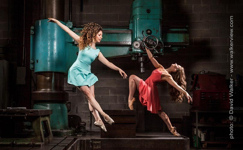 Professional ballet dancers at a machine shop Toronto dance photograph by David Walker